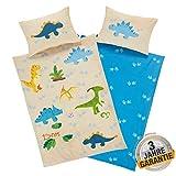 Aminata Kids Bettwäsche Dinosaurier 100-x-135 Junge Kinderbettwäsche mit Dino-Motiv 100% Baumwolle...
