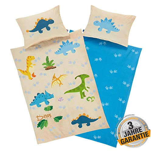 Aminata Kids Bettwäsche Dinosaurier 100-x-135 Junge Kinderbettwäsche mit Dino-Motiv 100% Baumwolle mit YKK Reißverschluss, Wende Kinder-Bettwäsche-Set Dinos bunt, blau, beige meliert aquarell