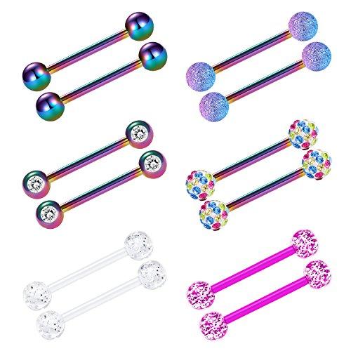 vcmart Nipple Rings Tongue Ring Surgical Steel Nipplerings Piercing Women Rainbow Barbells 14G 6 Pairs 5/8