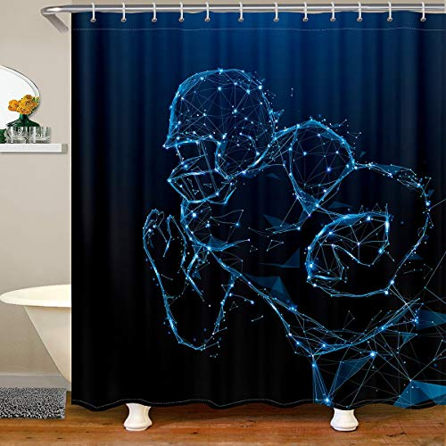 Cortina de ducha de tela de fútbol para baño, diseño de pelota de fútbol, impermeable, cortina de ducha con ganchos, color azul, 180 x 200 cm