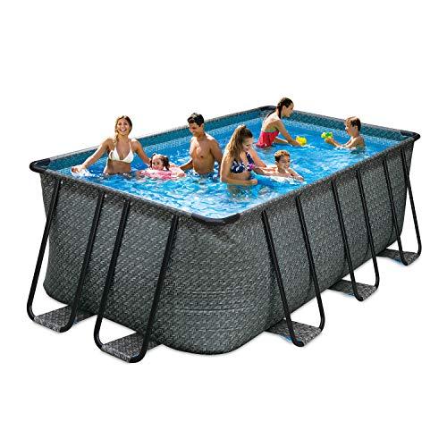 PolyGroup Elite Rechteck Frame Pool Set Rattan Braun in verschiedenen Größen 732 x 366 x 132 cm