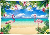 DePhoto 9X6FT Flamingo Beach Party Seamless Vinyl Photography Backdrop Photo Background Studio Prop PGT363B