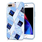 CAOUME iPhone 7 Plus/8 Plus/6 Plus/6S Plus Case Blue Geometric Marble Design Sparkly Glitter Protective Stylish Cute Holographic Cases for Apple Phone, Soft TPU Silicone Bumper Defender