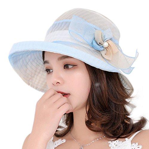 Landove Cappello Donne Estivo Primavera Protezione UV Cappellini con Visiera Organza Chiffon Fiore Topper Pieghevole da Viaggio Tesa Larga Berretto da Spiaggia Sposa Sun Hats