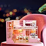 Wosume DIY Puppenhaus Holz Miniatur Möbel Kit, DIY H-andmade Miniatur Pink Girl Holz Puppenhaus Modell Kits Spielzeug Geschenk -