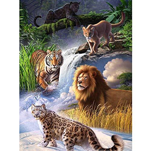 LANSUER - Kit per pittura a mosaico 5D con numeri, per adulti e bambini, set di strass con diamanti, decorazione artistica e leone, leopardo, 30 x 39,9 cm