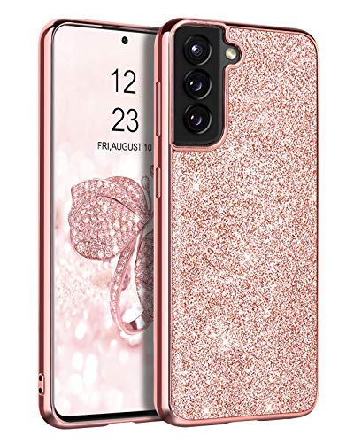 "DUEDUE Samsung Galaxy S21 Case 6.2"",Glitter Bling Slim Hybrid Hard PC Cover Shockproof Non-Slip Full Body Protective Phone Case for Galaxy S21 2021 for Women/Girls,Rose Gold"