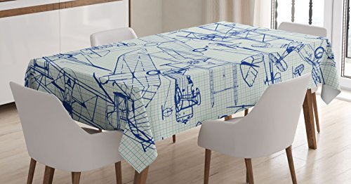 Ambesonne Airplane Tablecloth, Old Airplane Drawings Classic Dated Flight Vintage Style Nostalgic Jets, Dining Room Kitchen Rectangular Table Cover, 60' X 84', Royal Blue