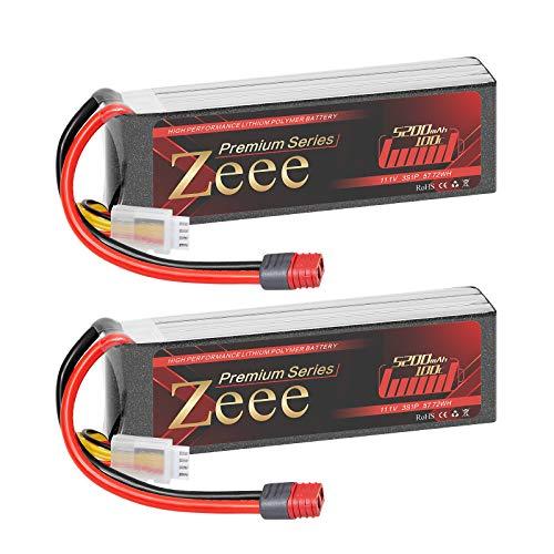 Zeee Batería de polímero de litio Serie 3S de 5200 mAh, 11,1 V, 100 C, con conector Deans T para drones de carreras FPV, para cuadricópteros, aviones, barcos y coches RC (2 unidades)