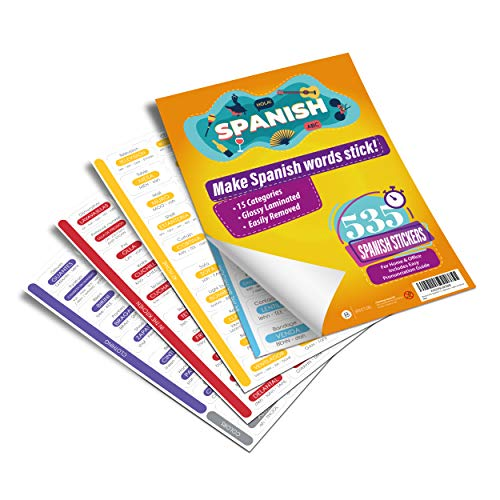 Briston 535 Spanish / English Vocabulary Word Stickers Labels (with Pronunciation & Translation) for Beginners - Learn at Home