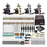 YOLDS Conjunto de máquinas Pentattoo Tattoo Pentattoo de 4 bobinas de la máquina, con Traje de 54 Colores y práctica de línea de Corte de Cuero de Niebla.