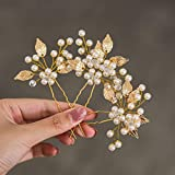 Heread Pearl Bride Wedding Hair Pins Leaf Bridal Head Piece Flower Hair Accessories for Women and Girls (Pack of 3) (Gold)