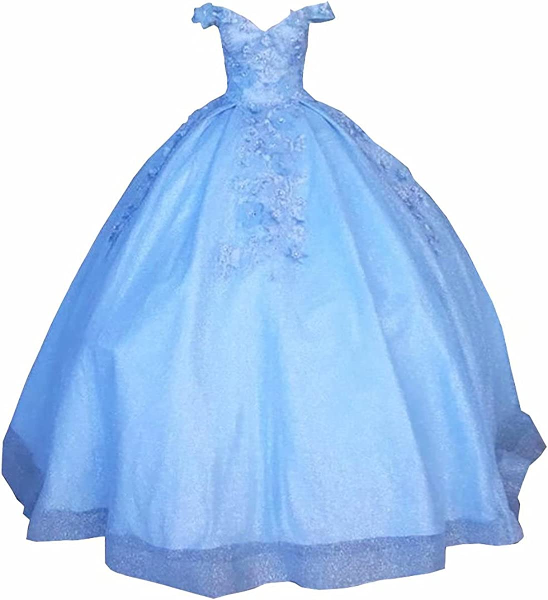 2021 Glitter Fabric Off The Shoulder Quinceanera Dresses Ball Gown 3D Floral Flowers Lace with Sleeves Prom Formal Dress