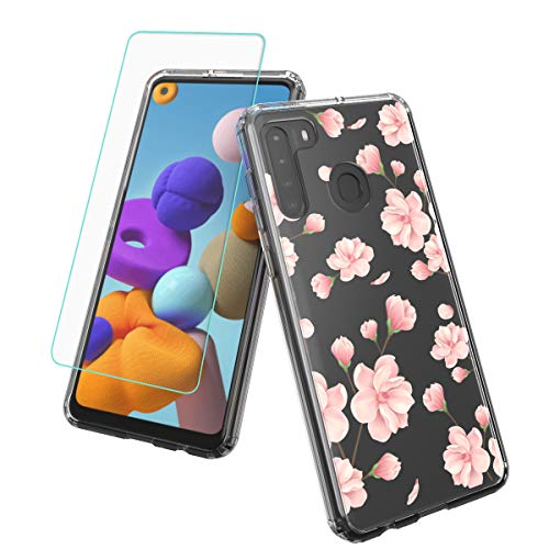 Vinve Samsung Galaxy A21 Case with Screen Protector, Clear Flower Design Hard PC Back+ TPU Bumper Protective Slim Case for Galaxy A21 (Peach Blossom)