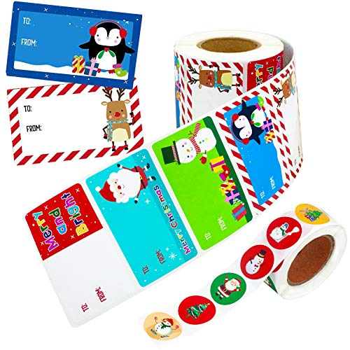 500PCS Christmas Tags Gifts, Self Adhesive Christmas Labels Name Tags Stickers, Xmas Santa Claus Stickers Christmas to from Labels Decals for Presents Wrapping Paper Gift Bags Festival Holiday Decor