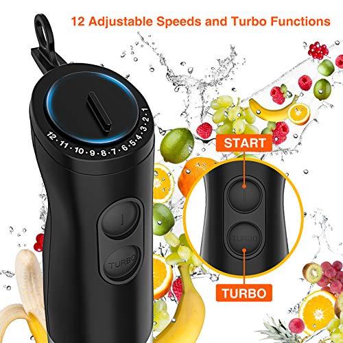 Immersion Blender, HOPVISION 1000W 12-Speed Hand Blender, 5-in-1 Hand Blender Set with Turbo Mode, Includes Stainless Steel Stick Blender, 500ml Chopper, 600ml Beaker, Milk Frother and Whisk, BPA-Free