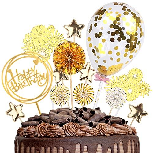 DERAYEE 13 Stück Goldene Tortensdeko, Geburtstag Tortendeko, Cake Topper, Konfetti Ballon Topper