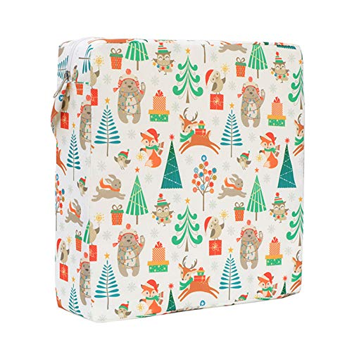 MIZZLES Toddler High Chair Booster Seat Cushion for Dining Double Straps Washable Portable Thick Chair Increasing Cushion for Baby Kids (Christmas)