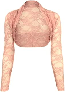 c0f4009b8c1dba krautwear Damen Bolero Langarm Stola Bolerojacke Hochzeit Festlich Spitze  schwarz weiß rot beige blau pink