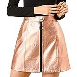 Allegra K Women's Metallic Mini Skirt Shiny Glitter Holographic High Waist Zipper Short Skirts Small Gold