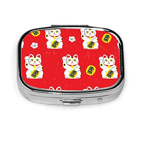 Japanese Lucky Cat Custom Fashion Silver Square Pill Box Medicine Tablet Holder Wallet Organizer Case For Pocket Or Purse Vitamin Organizer Holder Decorative Box
