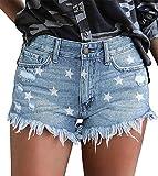 Pantalones cortos ajustados de tela vaquera Kissmoda para mujer. Talle alto y dobladillo deshilachado Azul...