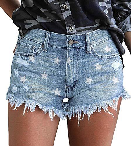 KISSMODA - Pantalones cortos de mezclilla para mujer, talle alto, dobladillo crudo Azul Estrella Azul S