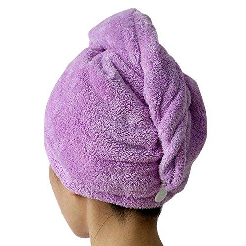 CHIC-CHIC 1pc Haartrockentuch Haarhandtuch Haar Turban Aufsetzen Einwickeln Zuknöpfen Haarpunzel weich bequem Wasseraufnahme (Hellviolett)