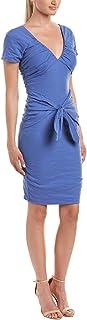 Nicole Miller Women's Solid Cotton Metal Tie Front Dress