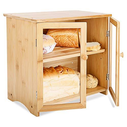 Leader Accessories Caja de Pan de bambú de 2 Capas con Tapa para Tabla de Cortar Caja de Pan de Madera de bambú con Doble Puerta, Espacio de Almacenamiento Ajustable, para Cocina, Naturaleza