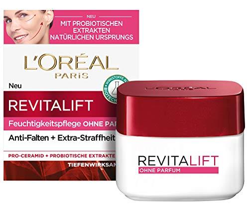 L\'Oréal Paris Tagespflege ohne Parfum, Anti-Aging Feuchtigkeitspflege für das Gesicht, Für sensible Haut, Mit Probiotika, Revitalift Klassik, 50ml