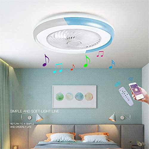 YAOXI - Lámpara LED de techo con ventilador Bluetooth silencioso, cámara de techo con luz y control de salón, regulable, 40 W, lámpara ventilador de techo, color azul