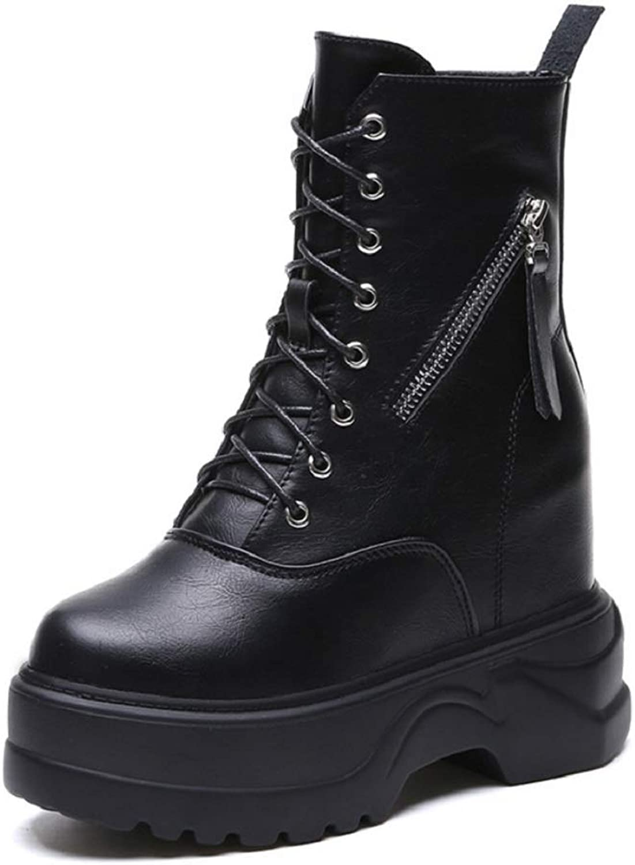 Ladies Women Ankle Winter Boots Platform Lace Up Leisure Short Boots Concealed Hidden 11Cm Wedge Heel Hi Top Warm Fashion Trainer shoes