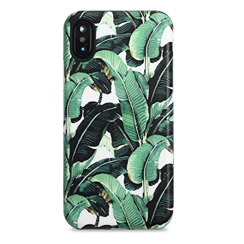 GOLINK iPhone X Case for Girls/iPhone Xs Case, Floral Series Slim-Fit Ultra-Thin Anti-Scratch Shock Proof Dust Proof Anti-Finger Print TPU Gel Case for iPhone X/iPhone Xs - Banana Leaf
