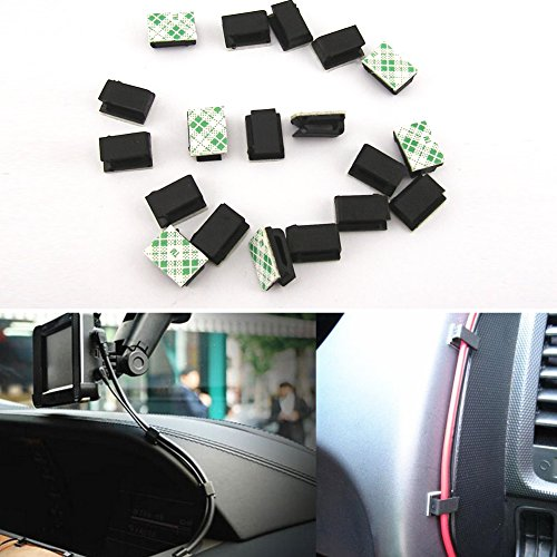 LYCOS3 Lot de 40 clips de fixation pour voiture, câble de données GPS de voiture, cordon lumineux décoratif, clips fixes en plastique, base adhésive à l'arrière