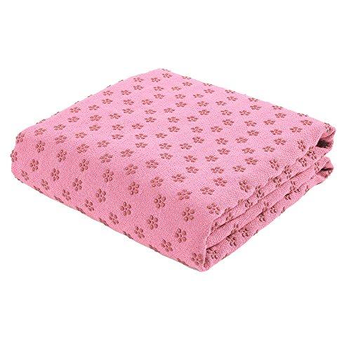 FLURYSAR Fitness Yogadecke Yoga Towel mit Rutschfester Oberfläche (Nopen) (Rosa)