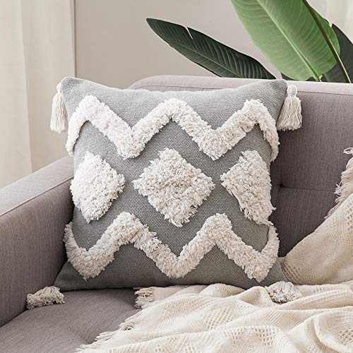 MIULEE 1 Stück Dekorative Kissenbezug Baumwolle Dekokissen Boho Super Weich Kissenbezüge Quaste Decor Kissenhülle für Sofa Couch Schlafzimmer Wohnzimmer 18X18inch 45x45cm