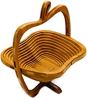 Clever Chef Collapsible Bamboo Apple Shaped Fruit and Veggie Basket