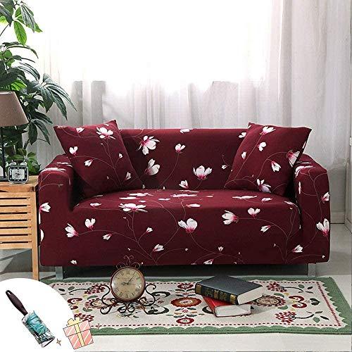 HFTYCC Funda de sofá Espesar Decoración del hogar Banco Funda de sofá Tejido elástico Antideslizante Elástico Silla Funda de sofá nórdico-1 Seater_Green-4 Seater_Red