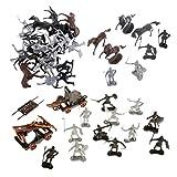 MagiDeal 2 Sets Modèles Soldats Guerriers Figurines Militaires Médiévaux Cavaliers Chevaux Jouets Enfants Disposition Dioramas