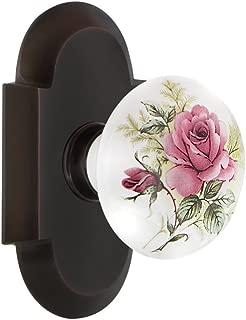 Nostalgic Warehouse Cottage Plate Single Dummy White Rose Porcelain Door Knob in Timeless Bronze