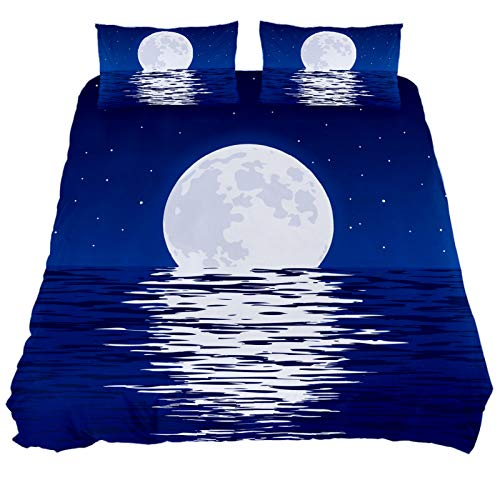 HULKBIDBV 3 Pieces Blue Sea Full Moon Duvet Cover Set (1 Duvet Cover + 2 Pillowcases) Custom Design Bedding Set Soft Fiber Bedding Sets, New Twin.