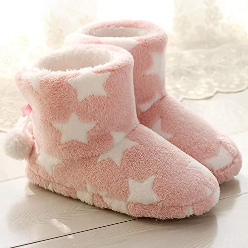 calcetín Zapatos patrón Zapatillas Mujer Mantener Caliente Antideslizante Soft Home Zapatillas Mujer -Pink_8.5