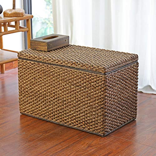 LYCIL Outdoor Ottomans With Storage,Wicker Basket Pouffe Stool Seat Multifunctional Storage Chest Toy Box Rattan Storage Trunk Shoe Bench A