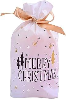 WARMWORD Bolsa de Caramelo de la Navidad/Bolsa de Regalo de Pantalones de Santa para Chocolates, Dulces y Otros Pequeños Regalos, Diseño de Papá Noel, Oro Blanco - 50 Piezas