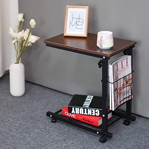 Qgg Overbed Table End Tables Movement and Lifting Bedside Table Tea Table Computer Table Side Table Sofa Corner Table Small Coffee Table Side Cabinet (Color : Brown)