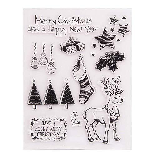 GIVBRO Sellos de silicona transparente Sellos Pegatinas de Navidad Elk Plantilla de relieve Estrellas Árbol Stencil DIY Arte Scrapbook Decoración Herramientas