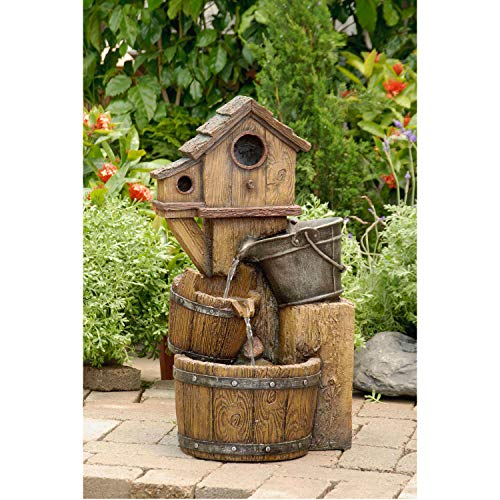 Jur_Global Bird House Outdoor Water Fountain Without Light