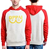 One Punch Man Men's Oppai Pull Over Hooded Sweatshirt, Beige, XX-Large