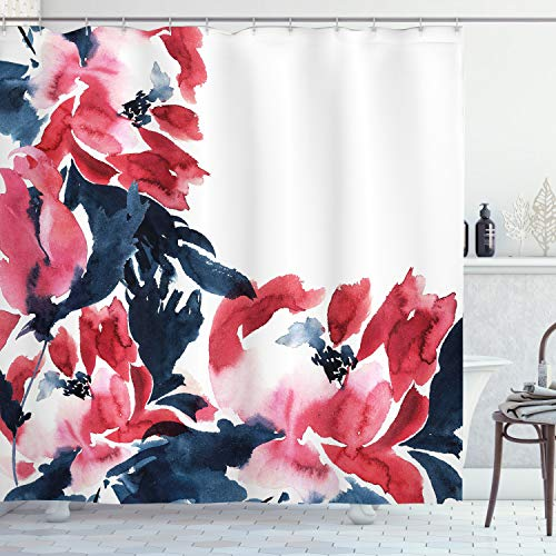 Ambesonne Floral Shower Curtain, Flowers in Watercolor Style Effect Illustration of Peonies Spring Inspired Print, Cloth Fabric Bathroom Decor Set with Hooks, 75' Long, Blue Pink